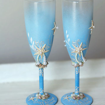 Personalized Baby Blue Wedding Champagne Glasses Hand Painted Set.