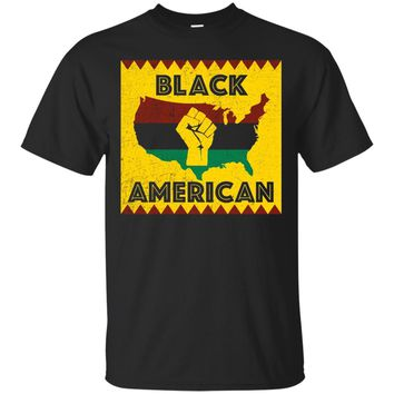 Black American Patriot African Flag Fist T Shirt USA Map_Black