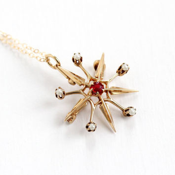 Vintage 14k Yellow Gold Simulated Ruby & Seed Pearl Star Pendant Necklace - Edwardian 1910s Red Stone Fine Jewelry Starburst Brooch Pin