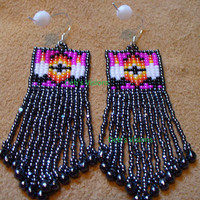 Native American Style loom beaded Two Feather earrings