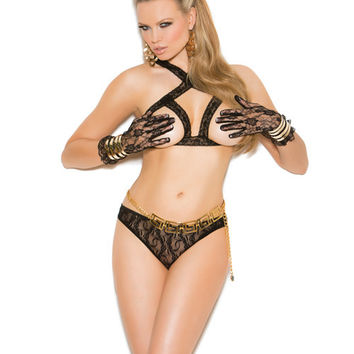 Vivace Lace Cupless Bra & Panty W-open Back Black O-s