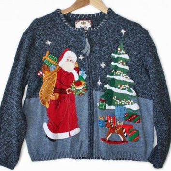 Shop Now! Ugly Sweaters: Stoned Santa Tacky Ugly Christmas Sweater / Cardigan Women's Size Large (L) $28 - The Ugly Sweater Shop