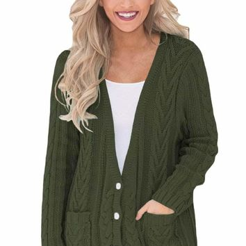 Olive Button the Deep V Front Cable Sweater Cardigan