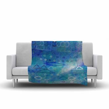 "Mimulux Patricia No ""Hieroglyphic"" Blue Digital Abstract Fleece Throw Blanket"