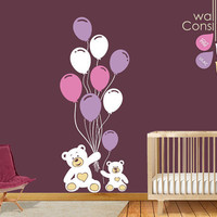 "Teddy with Balloons Wall Decal - Wall Sticker - Large: Whole Scene is 78"" high and 31"" wide. - K009"