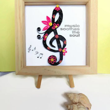 Music decor, music art, music note, music gift, quilled art, quilled picture, home decor, wall art, quilled music art, gift for music lover