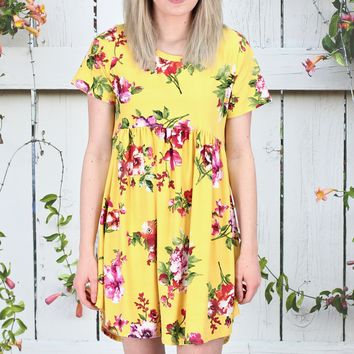 Smocked Babydoll Suedette Floral Dress {Yellow}