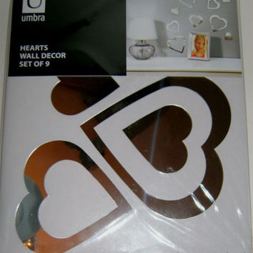 Umbra Hearts Wall Decor Set 9 Lightweight Mirror Peel & Stick Silver Decoration