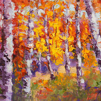 Original Oil painting, Autumn Sunlight, Fall woodland landscape, Autumn Impressionist Landscape painting by Marion Hedger, 7x10inch, SFA