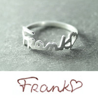 Free shipping - Personalized Signature ring, Sterling Silver Name ring ,Your Handwriting Jewelry, Custom ring, Handwriting ring