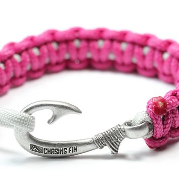 New Slim Cobra Braid Fish Hook Bracelet (Fuchsia & Silver)