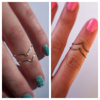 Set of 2 Silver Chevron Wire Midi Rings, Adjustable
