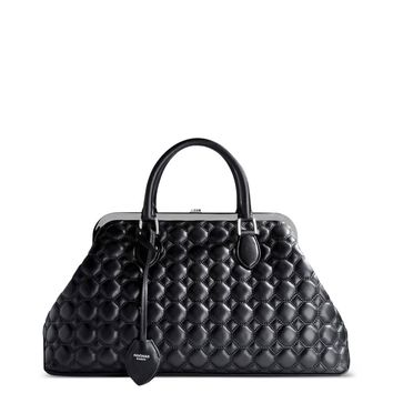 Rochas Quilted Leather Top-Handle Bag - Black Leather Bag