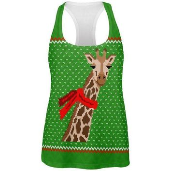 CREYCY8 Ugly Christmas Sweater Big Giraffe Scarf All Over Womens Work Out Tank Top