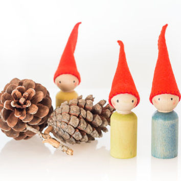 Wooden Eco Toy Eco Friendly Birthday Gift Waldorf Inspired Needled Felted Wooden Peg Doll Wooden People Peg People Wood Doll Peg Doll Family