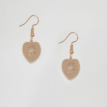 ASOS Cut Out Rose Heart Drop Earrings at asos.com