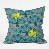 Raven Jumpo Octopus Among The Coral Throw Pillow