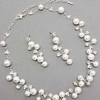 ACCESSORIESFOREVER Bridal Wedding Jewelry Set Crystal Rhinestone Pearl White