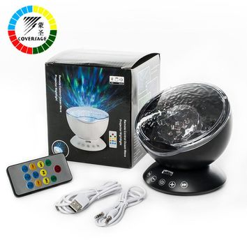 Ocean Wave Projector with Remote Control TF Cards Music Player Speaker LED Night Light