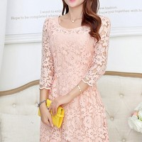 Delicate Crochet Lace Dress - OASAP.com