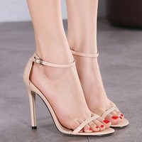 2016 classic goddess losing money word cool ankle strap high-heeled sandals apricot44