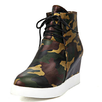 brand new  big size 33-43 solid inner rise heels  wedges women boots camouflage prints platform ankle boots new women shoes