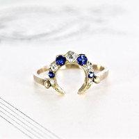 Antique Crescent Moon Ring, 14k Mine Cut Diamond & Sapphire Bohemian Alternative Engagement Statement Ring Bridal Jewelry Anniversary Gift