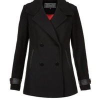 New Look Mobile | Black Longline Contrast Sleeve Peacoat