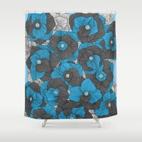 In Bloom (blue & grey) Shower Curtain by Skye Zambrana