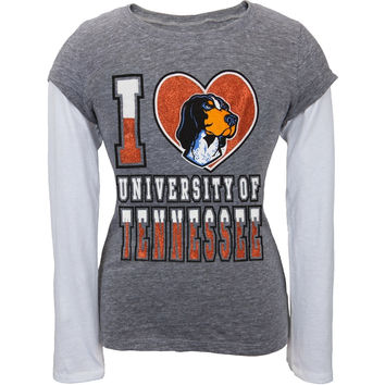 Tennessee Volunteers - Glitter I Heart Girls Youth 2fer Long Sleeve T-Shirt