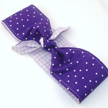 Head Scarf, Purple with White Polka Dots with Light Purple Gingham on back Solid 40s Hair Rockabilly Pin Up Headscarf Headband Bandanna