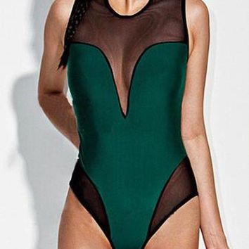ONETOW Sexy One Piece Swimsuit Women Mesh Patchwork Back Zipper Design Swimwear Bodysuit Bathing Suit Beach Wear maillot de bain M6634