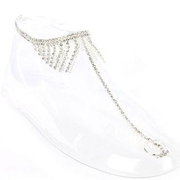 Toe Ring Stretch Rhinestone Ball Chain Fringe Anklet