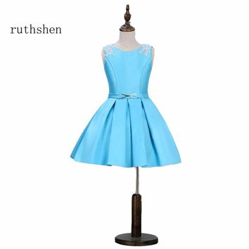 ruthshen Baby Blue Flower Girl Dress For Evening Prom Party A Line Kids Sleeveless Dresses For Wedding Birthday Occasions 2018