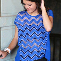 Chevron Illusion Top {Royal}