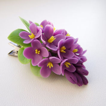 Violet Floral Hair Clip sprig lilac. Prom hair clip.  Polymer clay flower (cold porcelain).Handmade hair accessories. Gift for her, girl.