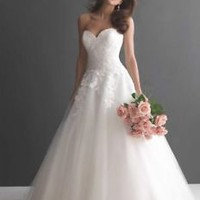White/Ivory Bridal Wedding Dress with Lace Bodice Cusotm Size 0 2 4 6 8 10 12 14