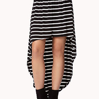 FOREVER 21 High-Low Striped Skirt