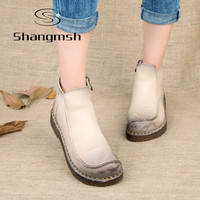 Shangmsh 2017 Fashion Handmade Boots For Women Genuine Leather Ankle Shoes Vintage Mom Women Shoes Round Toes Martin Boots