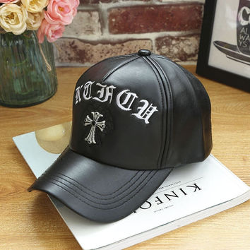 Cross Black Leather Baseball Hat Hat