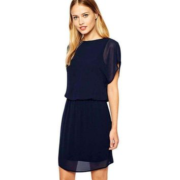 Blue Cowl Neck Back Shift Dress