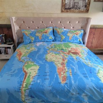 3/4PCS World Map Bedding Set Real Vivid ocean land Printed Bed Cover Home Textil quilt cover Twin queen king fitted sheet set