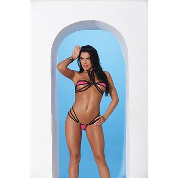 Elegant Moments 82174 Extreme Micro Strappy Hot Pink / Black Triangle Top & G-String Thong Bikini