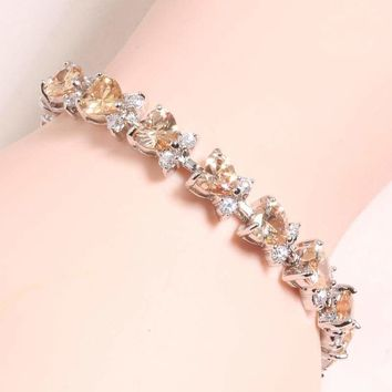 LOVE Heart Champagne Orange Morganite 925 Sterling Silver Link Chain Bracelet