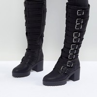 ASOS CAUTION Buckle Heeled Knee High Boots at asos.com