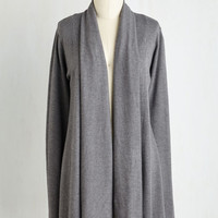 Minimal Long Long Sleeve Comfy My Way Cardigan in Grey by ModCloth