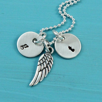 Guardian angel wing Initial Necklace Sterling Silver Stamped Personalized tiny Initials handmade Christmas birthday gift for her couple mom