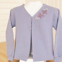 Ladies Violet Embroidered Sweatshirt Jacket. Sizes S-XL.