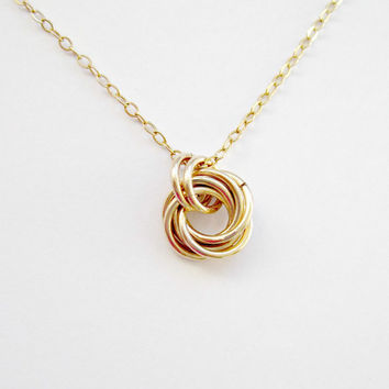 Silver Love Knot Necklace Bridesmaid Jewelry Gold Bridal Jewelry Mother of the Bride gift Girl Friend Gift Mobius knot Tie the knot gift
