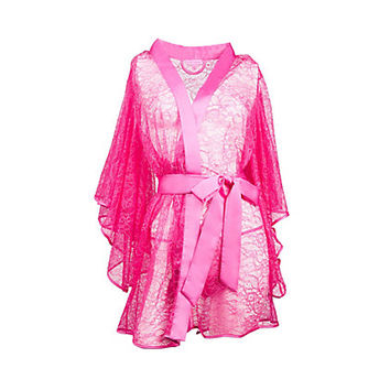 SUGAR BABY LACE AND SATIN ROBE: Betsey Johnson